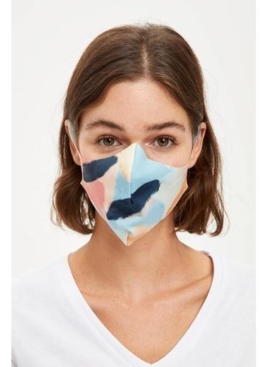 DeFacto Desenli Yıkanabilir Maske Sarı